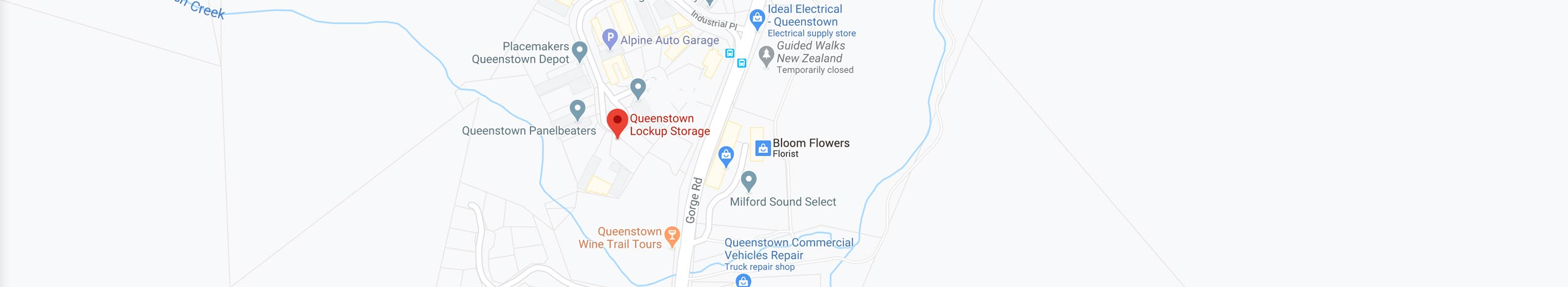 Map of location of Queenstown Storage and Lockup